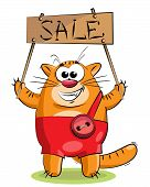 "red cat with a tablet with the inscription ""sale"" poster"