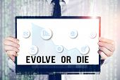 Word writing text Evolve Or Die. Business concept for Necessity of change grow adapt to continue living Survival. poster