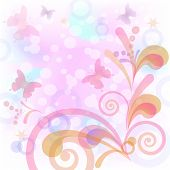 Abstract pink background with symbolical butterflies and figures. Vector eps10, contains transparencies poster