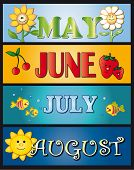 illustration for month: may june july and august poster
