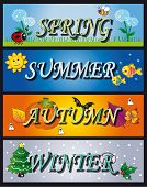 illustration of four seasons: spring summer autumn winter poster