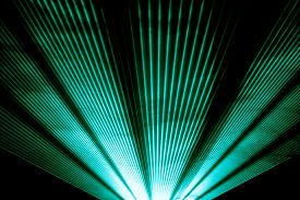 Turquoise Laser Show Nightlife Club Stage Shining Sparkling Rays. Luxury Entertainment In Nightclub