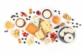 Cheese And Wine, Tasting And Pairing, An Overhead Flat Lay Shot On A White Background