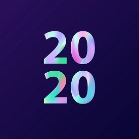 New Year 2020 Card In Minimalist Style. Greeting Card.
