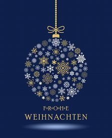 Christmas Bauble Vector. Snowflakes, Hanger And German Christmas Greetings. Blue Background. Transla