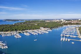 An Aerial Shot Of Verudela Peninsula With Yachts And Boats In Pula, Istria, Croatia