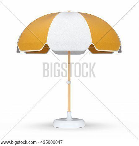 Orange Striped Beach Umbrella For Lounge Zone On Seashore Isolated On White Background. 3d Rendering