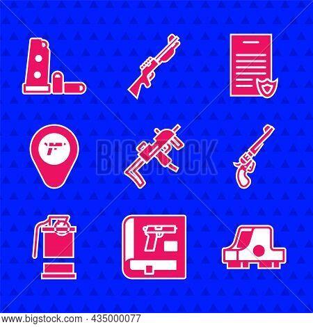 Set Mp9i Submachine Gun, Book With Pistol Or, Collimator Sight, Revolver, Hand Smoke Grenade, Locati