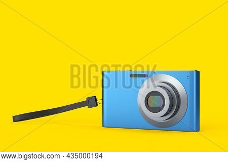 Stylish Blue Compact Pocket Digital Camera Isolated On Yellow Background. 3d Rendered Concept Of Vac