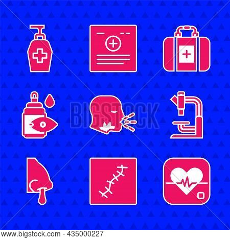 Set Man Coughing, Scar With Suture, Heart Rate, Microscope, Runny Nose, Eye Drop Bottle, First Aid K
