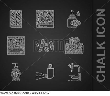 Set Medicine Pill Or Tablet, Inhaler, Microscope, Tooth With Caries, Liquid Antibacterial Soap, Clin