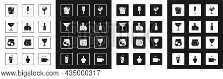Set Cocktail, Whiskey Bottle And Glass, Wine, Glass Of Whiskey, Champagne, Champagne, And Icon. Vect