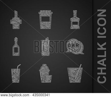 Set Cocktail Bloody Mary, Shaker, Street Signboard With Bar, Champagne Bottle, Whiskey And Wooden Co