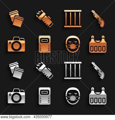 Set Police Assault Shield, Shotgun, Bulletproof Vest, Doctor Pathologist, Photo Camera, Prison Windo