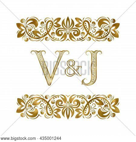 V And J Vintage Initials Logo Symbol. The Letters Are Surrounded By Ornamental Elements. Wedding Or