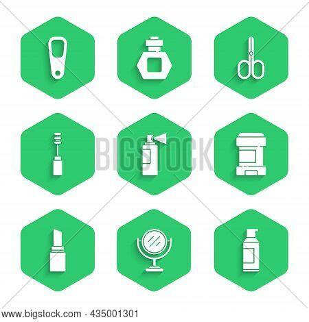 Set Perfume, Round Makeup Mirror, Spray Can For Hairspray, Antiperspirant Deodorant Roll, Lipstick,