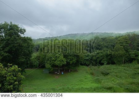 View Of The Green Forest And The Mist Floating On The Mountain In The Rainy Season Of Thailand.