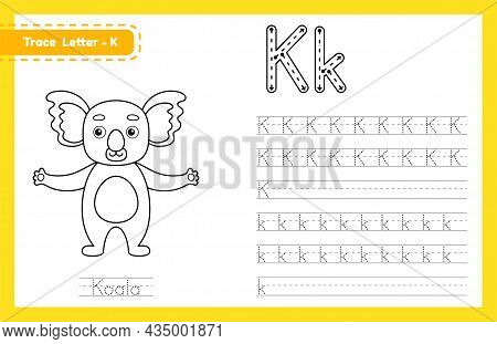 Trace Letter K Uppercase And Lowercase. Alphabet Tracing Practice Preschool Worksheet For Kids Learn