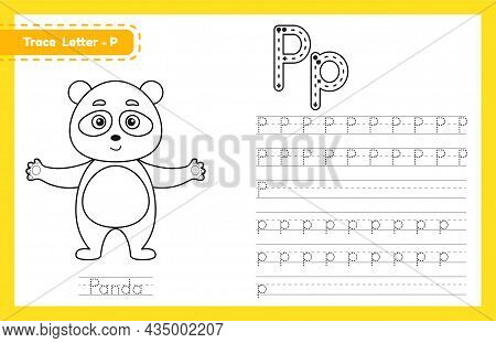 Trace Letter P Uppercase And Lowercase. Alphabet Tracing Practice Preschool Worksheet For Kids Learn