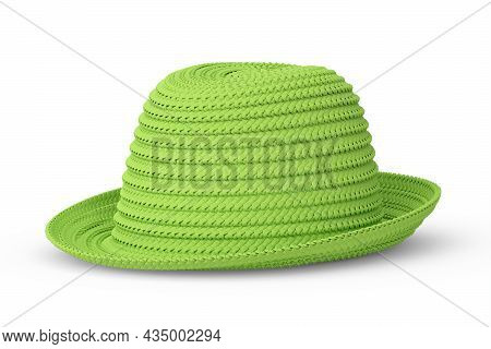Vintage Green Straw Beach Sun Hat Isolated On White And Sun Protection