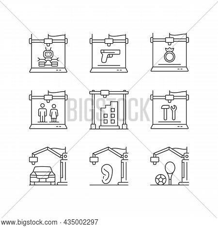 3d Printing Process Linear Icons Set. Design Representation. Rapid Prototyping. Modern Technology. C