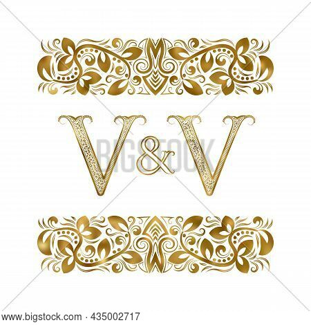 V And V Vintage Initials Logo Symbol. The Letters Are Surrounded By Ornamental Elements. Wedding Or