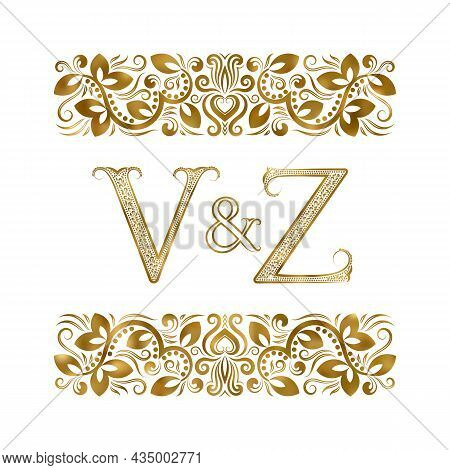 V And Z Vintage Initials Logo Symbol. The Letters Are Surrounded By Ornamental Elements. Wedding Or