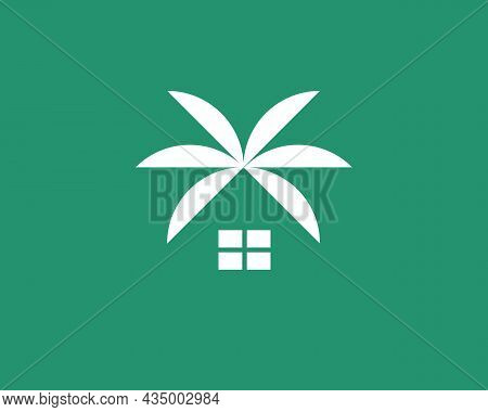 Abstract Home With Roof From Palm Tree Leaves Symbol Logotype. Minimalistic Beach House, Villa, Bung