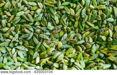 Cardamon Colour Green Background Horizontal Cardamom Texture