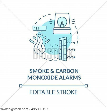 Smoke And Carbon Monoxide Alarms Blue Concept Icon. Combination Alarm Abstract Idea Thin Line Illust