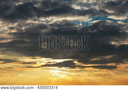 Dramatic Sky With Twilight . Dusk With Black Clouds