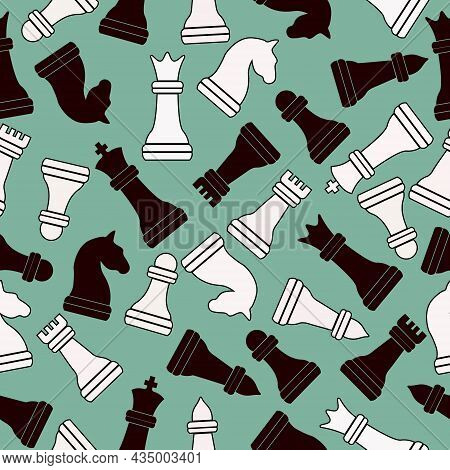 Seamless Chess Background. Chess Elements Seamless Pattern. Background With Complete Set Of Chess Pi