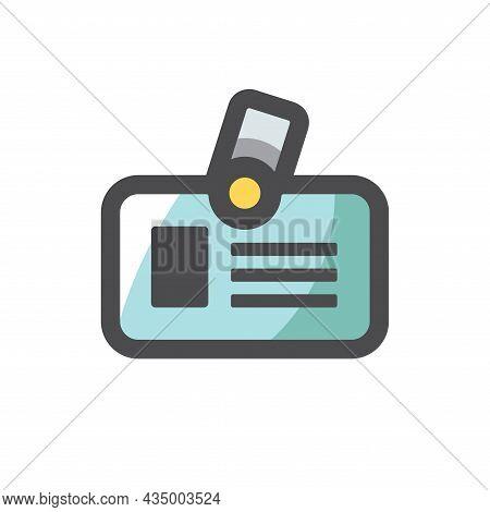 Identification Card Badge Vector Icon Cartoon Illustration