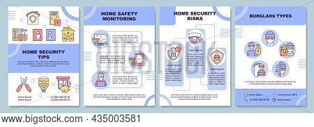 Home Security Tips Brochure Template. Protection System. Flyer, Booklet, Leaflet Print, Cover Design