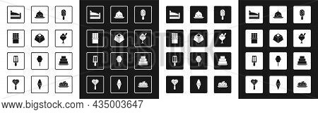 Set Ice Cream, Brownie Chocolate Cake, Chocolate Bar, Piece Of, In Bowl, Cake, And Icon. Vector