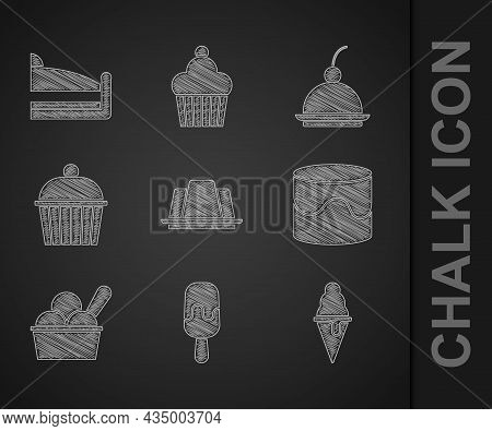 Set Jelly Cake, Ice Cream, In Waffle Cone, Cake, Bowl, Cherry Cheesecake And Piece Of Icon. Vector