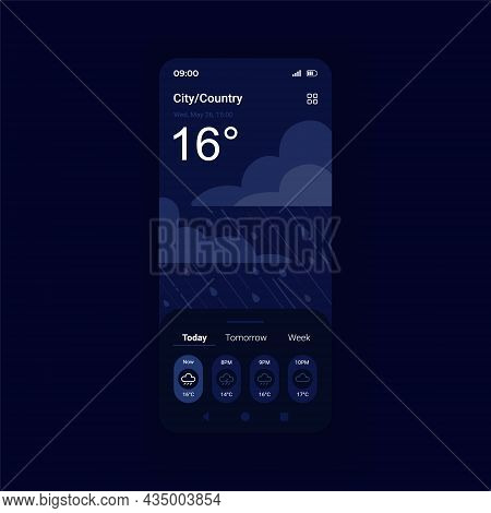 Storm Weather Forecast Night Mode Smartphone Interface Vector Template. Meteorology Service. Mobile
