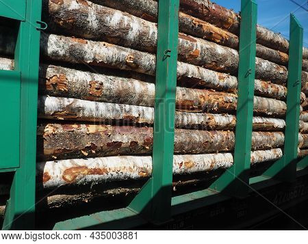Cargo Timber Train. Open Train Carriage With A Bundle Of Timber For Export. Deforestation And Ecolog