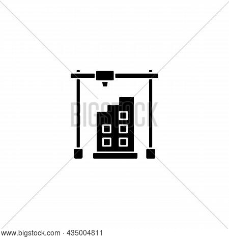 3d Printed Building Design Black Glyph Icon. Architectural 3d Model. Housing Development. Additively