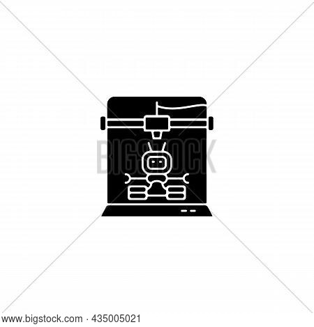 3d Robots Printing Black Glyph Icon. Robotic Additive Manufacturing. Innovative Robot Building Proce