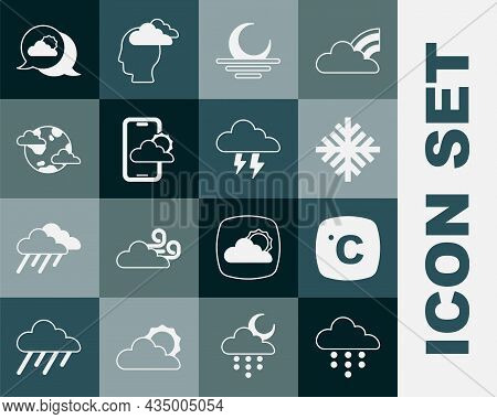 Set Cloud With Rain, Celsius, Snowflake, Sunset, Weather Forecast, Earth Planet Clouds, Location And
