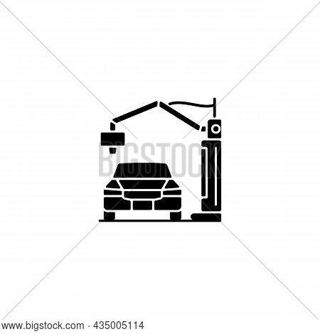 3d Printed Automobile Black Glyph Icon. Innovative Automotive Project. Printing Car Prototype. Vehic