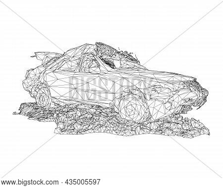 Wireframe Of Destroyed Car In A Pile Of Rubbish From Black Lines Isolated On White Background. 3d. V