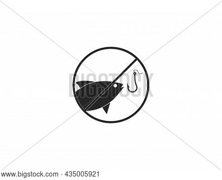 Ban, No Fishing, Prohibited Icon. Vector Illustration. Flat Design.