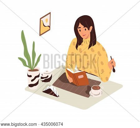 Woman Reading Book, Sitting At Table With Coffee Cup In Morning. Person Resting With Literature And