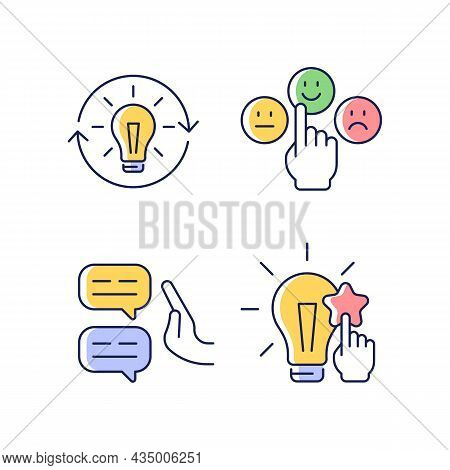 Logical And Rational Thinking Rgb Color Icons Set. Emotional Maturity. Skeptical View. Information A