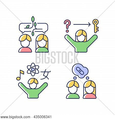 Communication Skills Rgb Color Icons Set. Problem Solving Skills. Inquisitiveness. Understand And Ac