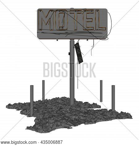 Destroyed Signboard Of A Motel Isolated On White Background. 3d. Vector Illustration