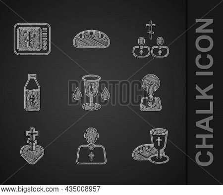 Set Christian Chalice, Priest, Goblet And Bread, Jesus, Religious Cross In Heart, Holy Water Bottle,
