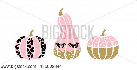 Cute Halloween Pink Pumpkin Set. Leopard Vector Pumpkin, With Lashes. Cartoon Autumn Symbols